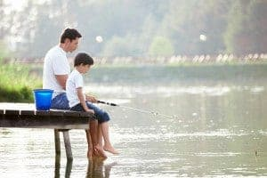father and son practicing for Smoky Mountain trout tournament