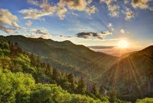 Sun over the Smoky Mountains