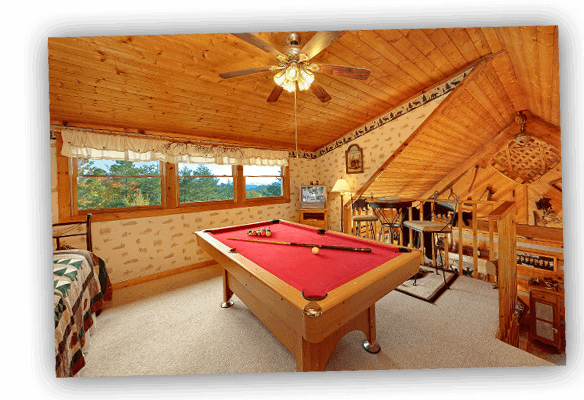 pool table in a cabin