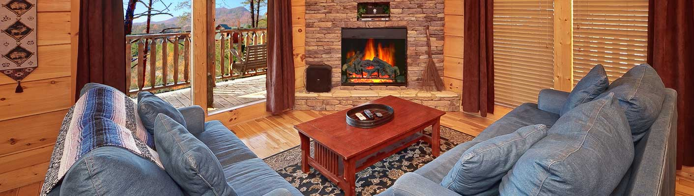 fireplace in a living room in a cabin