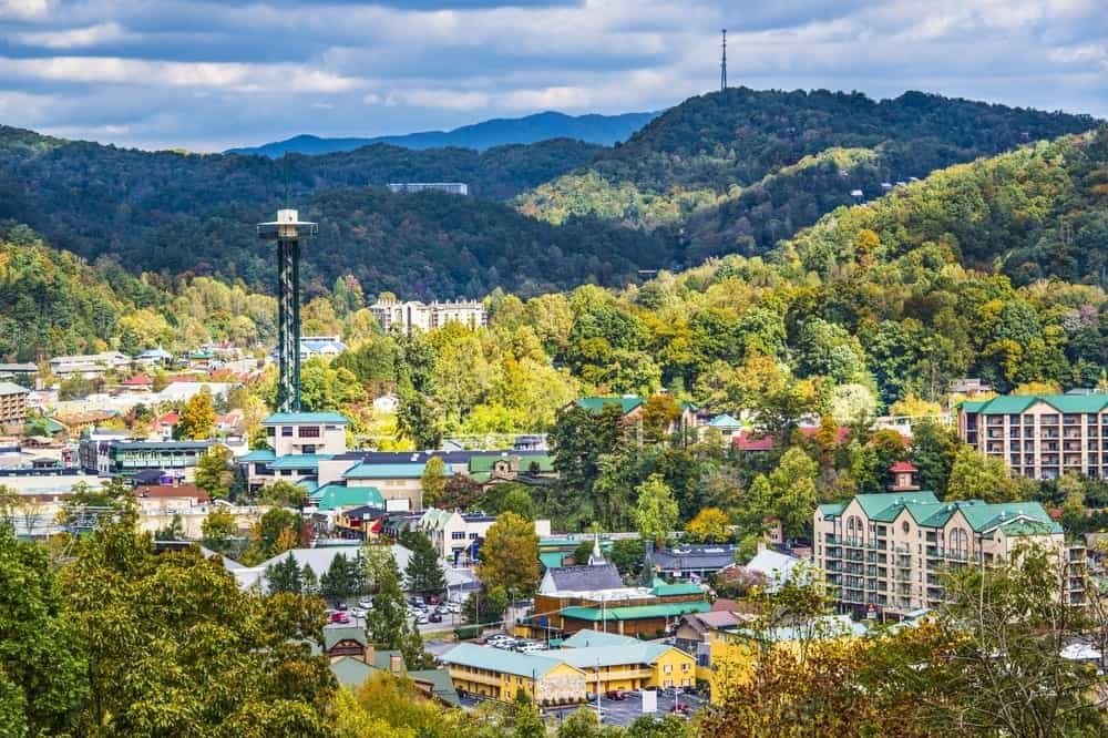 view of downtown Gatlinburg from a Gatlinburg Luxury cabin