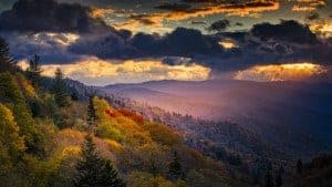 Smoky Mountain sunrise over the hills