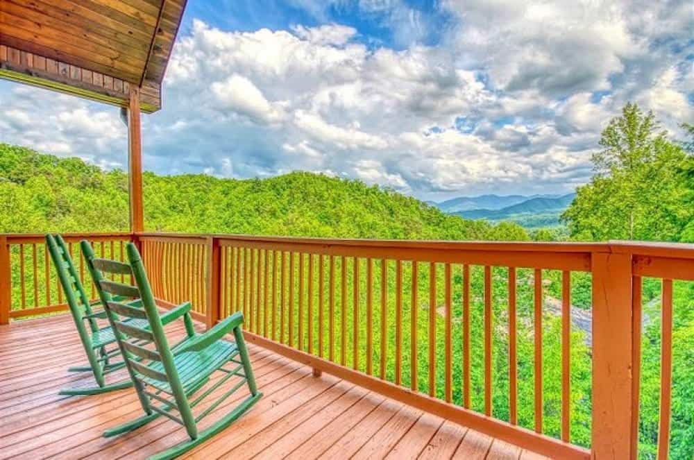 deck of secluded cabin in gatlinburg with mountain views