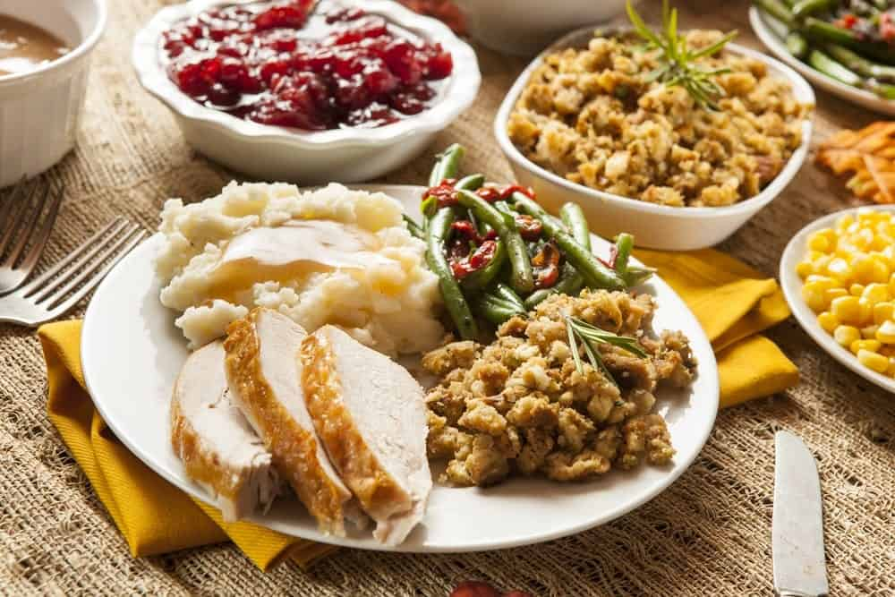 A table full of Thanksgiving food.