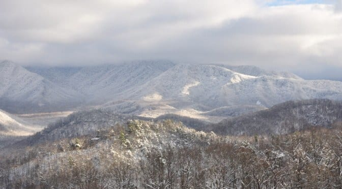 An incredible photo of winter in the Smoky Mountains.