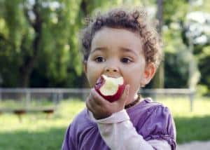 Child eating an apple outside in the Smoky Mountains