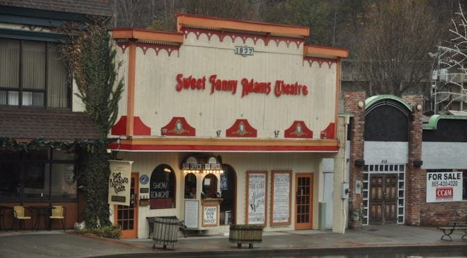 The outside of the Sweet Fanny Adams Theatre in Gatlinburg TN.