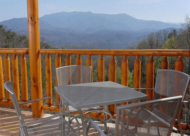 Beautiful views from the deck of the Splash Mansion cabin in the Smoky Mountains.